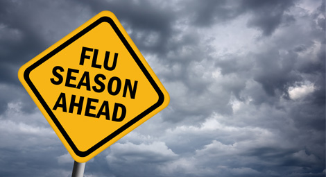 Road sign that says flu season ahead