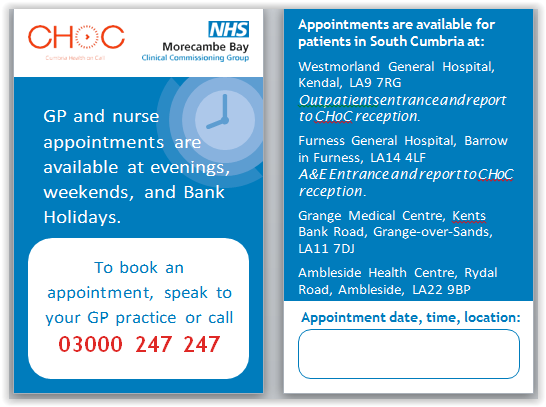GP and nurse appointments are now available in your area at evenings, weekends and Bank Holidays.